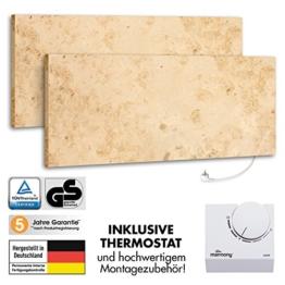 2er Pack Marmony M800 Jura mit Thermostat Marmor Infrarot-Heizung aus Naturstein mit Montagematerial, steckerfertige Wandheizung zum Aufhängen -