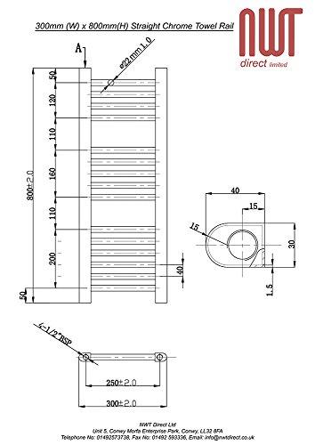300mm w x 800mm h bad heizkorper gerade chrom. Black Bedroom Furniture Sets. Home Design Ideas