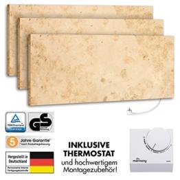 3er Pack Marmony M800 Jura mit Thermostat Marmor Infrarot-Heizung aus Naturstein mit Montagematerial, steckerfertige Wandheizung zum Aufhängen -