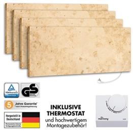 4er Pack Marmony M800 Jura mit Thermostat Marmor Infrarot-Heizung aus Naturstein mit Montagematerial, steckerfertige Wandheizung zum Aufhängen -