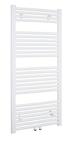Badheizkörper 600x1200 mm Gerade Weiß Mittelanschluss R18 - Größe 600x1200 -