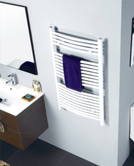 Badheizkörper Breite: 600 mm Oval Weiß R20 - Mittelanschluss - Seitenanschluss - Größe 600x1500 -