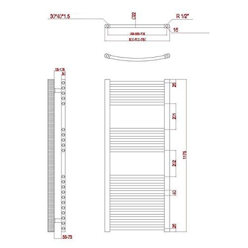 badheizk rper chrom gebogen 1175h x 600b mittelanschluss. Black Bedroom Furniture Sets. Home Design Ideas