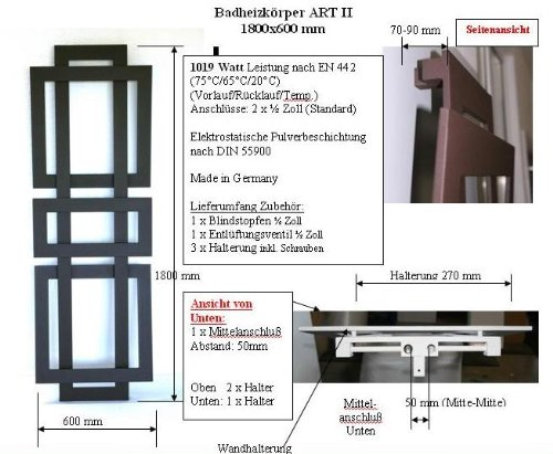 badheizk rper design art ii hxb 180 x 60 cm 1019 watt dunkelgrau metallic marke szagato. Black Bedroom Furniture Sets. Home Design Ideas