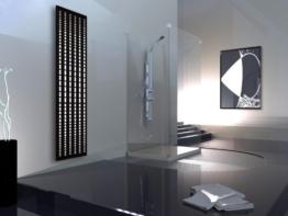 Badheizkörper Design broken Mirror 3, HxB: 180 x 47 cm, 1118 Watt, weiß / schwarz (matt) (Marke: Szagato) Made in Germany / moderner Bad und Wohnraum-Heizkörper (Mittelanschluss) -
