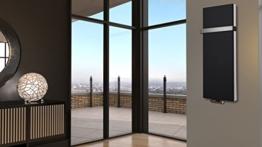 Badheizkörper Design Mirror Steel 5, 120 x 47 cm, 1458 Watt, schwarz (matt) + 1 Handtuchhalter (50mm) (Marke: Szagato) Made in Germany / moderner Bad und Wohnraum-Heizkörper (Mittelanschluss) -