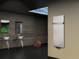 Badheizkörper Design Montevideo 2 (Glasfront) HxB: 120 x 47 cm, 799 Watt, weiß + 1 Handtuchhalter (50mm) (Marke: Szagato) Made in Germany / Top-verarbeiteter Bad und Wohnraum-Heizkörper mit Echtglas (Mittelanschluss) -