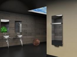 Badheizkörper Design Montevideo 2 (Spiegelglas) HxB: 120 x 47 cm, 799 Watt, Spiegel + 1 Handtuchhalter (50mm) (Marke: Szagato) Made in Germany / Top-verarbeiteter Bad und Wohnraum-Heizkörper mit Spiegel (Mittelanschluss) -