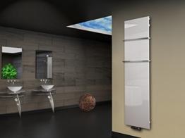 Badheizkörper Design Montevideo 3 (Glasfront) HxB: 180 x 47 cm, 1118 Watt, weiß + 2 Handtuchhalter (15x15mm) (Marke: Szagato) Made in Germany / Top-verarbeiteter Bad und Wohnraum-Heizkörper mit Echtglas (Mittelanschluss) -
