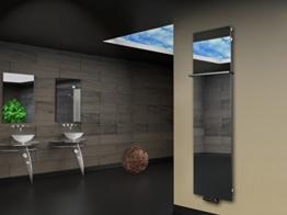 Badheizkörper Design Montevideo 3 (Spiegelglas) HxB: 180 x 47 cm, 1118 Watt, Spiegel + 1 Handtuchhalter (15x15mm) (Marke: Szagato) Made in Germany / Top-verarbeiteter Bad und Wohnraum-Heizkörper mit Spiegel (Mittelanschluss) -