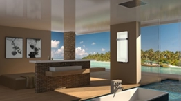 Badheizkörper Design Montevideo 5 (Glasfront) HxB: 120 x 47 cm, 1458 Watt, weiß + 1 Handtuchhalter (50mm), Mittelanschluss (Marke: Szagato) Made in Germany / Top-verarbeiteter Bad und Wohnraum-Heizkörper mit Echtglas (Mittelanschluss) -