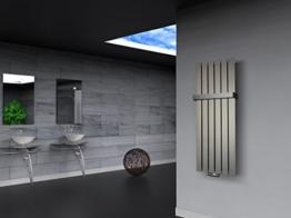 Badheizkörper Design Peking 2, HxB: 120 x 47 cm, 799 Watt Edelstahloptik + 1 Handtuchhalter (50mm) (Marke: Szagato) Made in Germany / Top-verarbeiteter Bad und Wohnraum-Heizkörper (Mittelanschluss) -