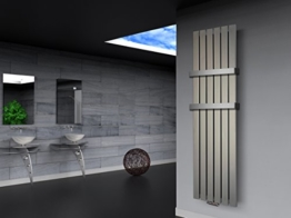 Badheizkörper Design Peking 3, HxB: 180 x 47 cm, 1118 Watt Edelstahloptik + 2 Handtuchhalter (50mm) (Marke: Szagato) Made in Germany / Top-verarbeiteter Bad und Wohnraum-Heizkörper (Mittelanschluss) -
