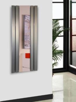 Badheizkörper Design Shanghai 2 mit Spiegel, HxB: 120 x 55 cm, 581 Watt, Edelstahloptik (Marke: Szagato) Made in Germany / Top-verarbeiteter Bad und Wohnraum-Heizkörper (Mittelanschluss) -