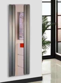 Badheizkörper Design Shanghai 3 mit Spiegel, HxB: 180 x 55 cm, 819 Watt, Edelstahloptik (Marke: Szagato) Made in Germany/Bad und Wohnraum-Heizkörper (Mittelanschluss) - 1