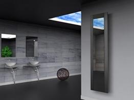 Badheizkörper Design Singapur 3, HxB: 180 x 47 cm, 1118 Watt, dunkelgrau (metallic) / Spiegel (Marke: Szagato) Made in Germany / Top-verarbeiteter Bad und Wohnraum-Heizkörper (Mittelanschluss Spiegelglas, Echtglas) -