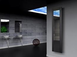 Badheizkörper Design Singapur 3, HxB: 180 x 47 cm, 1118 Watt, schwarz (matt) / Spiegel (Marke: Szagato) Made in Germany / Top-verarbeiteter Bad und Wohnraum-Heizkörper (Mittelanschluss Spiegelglas, Echtglas) -