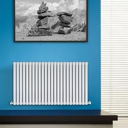 BestBathrooms Design-Heizkörper Horizontal Weiß - 600 x 1411 mm - Premium Paneelheizkörper für Zentralheizung - Einlagig - Perfekt für Küche, Bad & Wohnzimmer -