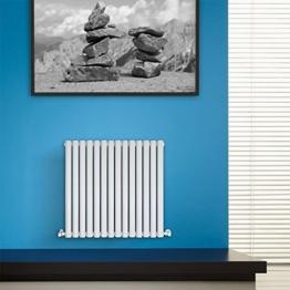 BestBathrooms Design-Heizkörper Horizontal Weiß - 600 x 834 mm - Premium Paneelheizkörper für Zentralheizung - Doppellagig - Perfekt für Küche, Bad & Wohnzimmer -