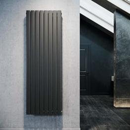 Design Flach Heizkörper 1800x616mm Antrazit Paneelheizkörper Vertikal Mittelanschluss Doppellagig - 1