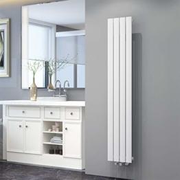 ELEGANT Design Flach Heizkörper 1600 x 308 mm Weiß Badheizkörper Einlagig Heizkoerper Vertikal Paneelheizkörper - 1