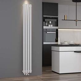 ELEGANT Design Paneelheizkörper Röhren 1800 x 236 mm Weiß Einlagig Badheizkörper Mittelanschluss Vertikal Röhren Heizkörper - 1