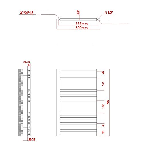 elektro badheizk rper 411 watt h x b 775 x 600mm weiss gerade anschluss links inkl. Black Bedroom Furniture Sets. Home Design Ideas