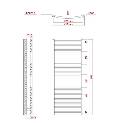 elektro badheizk rper 759 watt h x b 1175 x 750mm weiss gebogen anschluss rechts inkl. Black Bedroom Furniture Sets. Home Design Ideas