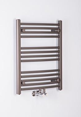 Handtuchheizkörper Badheizkörper Handtuchwärmer 700x600mm Grau gebogen -