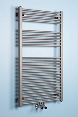 Handtuchheizkörper Handtuchwärmer Badheizkörper 1120x600mm Grau gerade -
