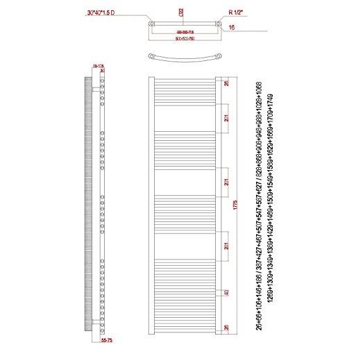 hochwertiger aqua badshop badheizk rper chrom gerade 1775h x 600b anschluss rechts. Black Bedroom Furniture Sets. Home Design Ideas