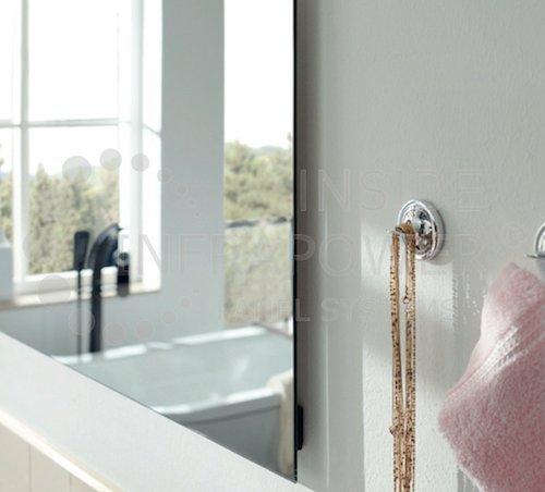 infrarot spiegelheizung badezimmer rahmenlos mirrorline t v 5 jahre garantie 400 watt 60x60x2. Black Bedroom Furniture Sets. Home Design Ideas