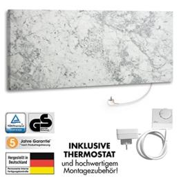 marmony 800W Carrara mit Thermostat C780 Naturstein-Heizung Marmor Infrarot-Heizung inkl. Montagematerial, steckerfertig zum Aufhängen -