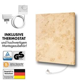Marmony M500-0066 Jura mit Thermostat Marmor Naturstein Infrarot-Heizung mit 500W, steckerfertig zum Aufhängen -