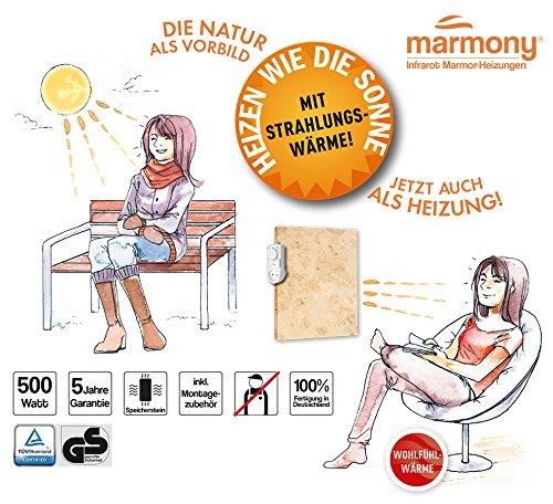 marmony m500 jura mit thermostat marmor naturstein infrarot heizung mit 500w steckerfertig zum. Black Bedroom Furniture Sets. Home Design Ideas