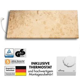 Marmony M800-0066 Jura mit Thermostat Marmor Naturstein Infrarot-Heizung inkl. Montagematerial, steckerfertige Wandheizung zum Aufhängen -