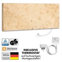 Marmony M800 Jura mit Thermostat Marmor Naturstein Infrarot-Heizung inkl. Montagematerial, steckerfertige Wandheizung zum Aufhängen für bis zu 25m² aus Deutschland -