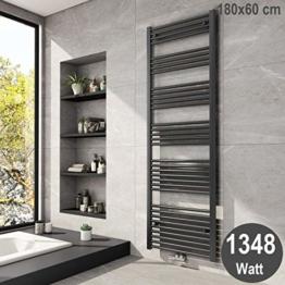 Meykoers Badheizkörper 1800x600mm Mittelanschluss 1348 Watt Anthrazit, Handtuchtrockner Handtuchwärmer Heizkörper für Bad Heizung - 1