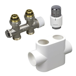 Oventrop Badheizkörper Zubehör Set Multiblock/Mittenanschluss Armatur Thermostatkopf in Durchgangsform, Farbe Abdeckung:weiß - 1