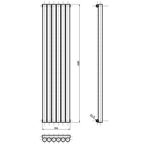 vertikale design heizk rper in anthrazit revive 1600 mm x. Black Bedroom Furniture Sets. Home Design Ideas